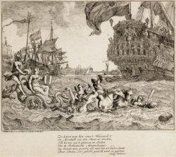 Een allegorische voorstelling op de Amsterdamse scheepvaart, in het Afgesloten I…