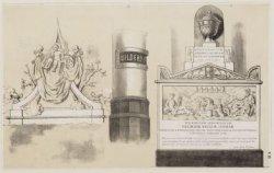 Verzamelprentvan drie diverse Gedenkteekenen in de Nieuwe Kerk
