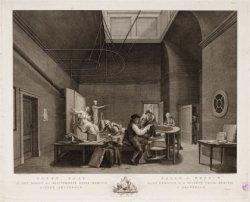 Felix Meritis, Keizersgracht 324. Tekenzaal tijdens modeltekenen. Techniek: grav…