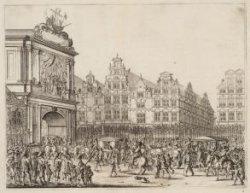 De aankomst van de stoet op de Dam. Bezoek van Maria de Medici aan Amsterdam