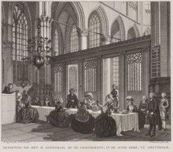 Bediening van het H. Avondmaal by de Hervormden, in de Oude Kerk, te Amsterdam