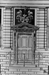 Singel 548, bouwtekening vooraanzicht, voordeur van het huis van Johan Huydecope…