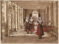 Weesmeisjes in de colonnade van het Burgerweeshuis (verbinding van het poortje a…