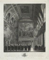 De Raadkamer op het Stadhuis te Amsteldam, zo als de Vroedschap aldaar 's Jaarly…