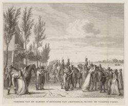 Vertrek van de Gardes d''Honneur van Amsterdam, buiten de Weesper Poort