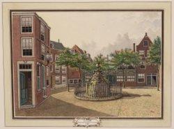 Fontijn en binnenplaats van het Doolhof hoek Looijers en Prinsengrachten te Amst…