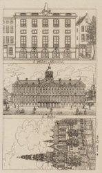 Verzamelprent van de Hoogduitse Schouwburg, Amstelstraat 21; Koninklijk Paleis e…