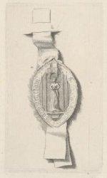 Ets naar een middeleeuws zegel met afbeelding van een vrouwelijke heilige