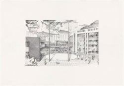 De ingang van het Stadhuis-Muziektheater (Stopera), Amstel 1-3. Techniek: potloo…