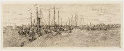 De Ruijterkade met vissersschepen gezien vanaf de Westerdokskade naar het oosten…