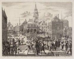 De Magistraat en de Geestelijkheid van de stad Amsterdam worden op de Dam weggel…