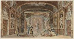Het decor De Troonzaal met een scène uit Arzases of het edelmoedig verraad