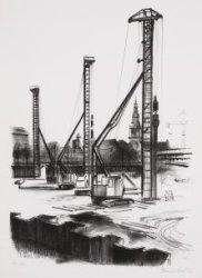 De bouwput van het Stadhuis-Muziektheater, gezien naar Zwanenburgwal en toren Zu…