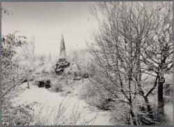 Vondelpark. In sneeuw gehuld. Op de achtergrond de toren van de Vondelkerk