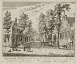 Gezigt voor het Rechthuys tot Amstelveen ziende op den weg naar Leyden