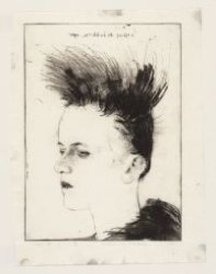 Portret van Karin Doebele, een punkmeisje, Derde Oosterparkstraat 46. Techniek: …