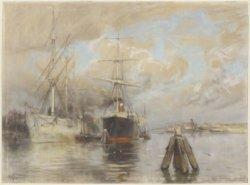 Westerdok met het fregat Graafstroom, gezien vanaf de Westerdokskade naar de bru…