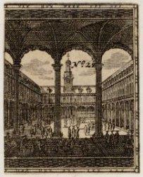 De binnenplaats van de Beurs van Hendrick de Keyser gezien vanuit de Damzijde na…