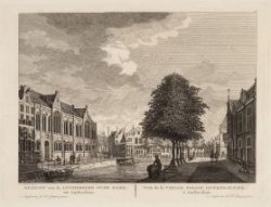 Gezicht van de Luthersche Oude Kerk tot Amsterdam