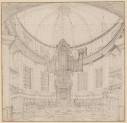 Het orgel in de Ronde Lutherse Nieuwe Kerk aan de Singel 11 vóór de brand van 18…
