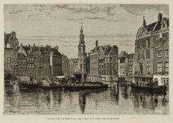 Amstel met enkele schuiten en een binnenvaartschip gezien naar Muntplein met Mun…