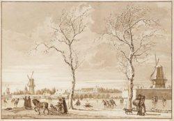 Wintergezicht op de Buiten-Amstel gezien vanaf de Weesperzijde, op de hoek met d…