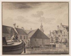 Gezicht op de Schut Sluys, Hey-Loots en Tooren van de Haarlemmer poort aan het E…