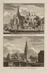 Verzamelblad van vijf diverse prenten van de Oude Kerk