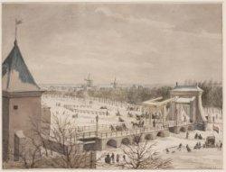 De brug en de hamei voor de Leidsepoort gezien in vogelvlucht bij winter. Geteke…