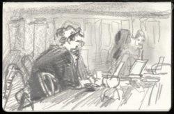 Interieur koffiebar met werkende mensen aan tafel. Tekening in schetsboek 4, ver…