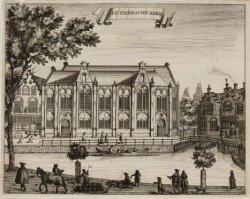 Oude Lutherse kerk, Singel 411 met zijgevel aan het Spui en rechts de brug Boere…