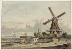 Bolwerk het Blauwhoofd met molen De Bok. Tegenwoordig is hier het Barentszplein.…