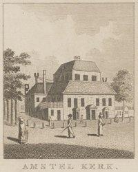 De Amstel Kerk gezien vanaf de Reguliersgracht. Anonieme tekenaar