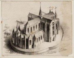 Vogelvluchtgezicht van de Nieuwe Kerk vanuit het noordoosten