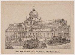 Paleis voor Volksvlijt, Frederiksplein 56, met het aanzicht schuin van voren. Te…