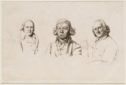 Drie portretten op één blad uit Het Studiewerk van J.E. Marcus
