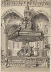Nieuwe Kerk. De preekstoel van Albert Vinckenbrinck. Ets, met oost-indische inkt…
