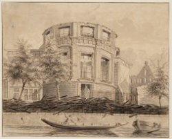 Ruïne van de Ronde Lutherse Kerk, Singel 11, na de brand op 20 September 1822. T…