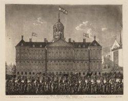 Het Koninglijk Paleis, in de Hoofdstad Amsteldam, aan de voorzeide van den Dam t…