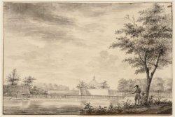 Singelgracht tussen Weesperpoort en Muiderpoort met een niet voltooide stadsmuur