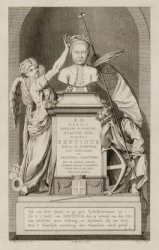 Dam 12, Nieuwe Kerk, een prent van het grafmonument voor Wolter Jan Gerrit baron…