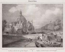 Amsterdam (boven). Luthersche kerk op het Singel (onder)