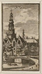 Gezicht op de Oude Kerk op het Oudekerksplein en de Oudekerksbrug, gezien vanaf …
