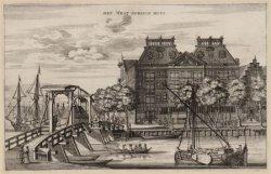 West-Indisch Huis, 's Gravenhekje 1, gezien van de Kalkmarkt bij het Nieuwe Waal…