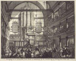 Beweging in de Luthersche Oude Kerk te Amsterdam, by de Aerdbeving, op Biddag, d…