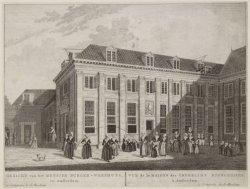 Gezicht van het Meysjes Burger-Weeshuys, tot Amsterdam