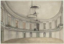 Een niet uitgevoerd ontwerp van het balkon voor de concertzaal in het Felix Meri…
