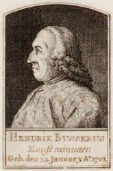 Portret van Hendrik Busserus, verzamelaar van prenten en tekeningen. Ets. Onders…