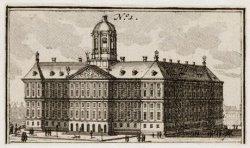 Dam 14, het Nieuwe Stadhuis, vanaf 1808 het Koninklijk Paleis. Techniek: ets