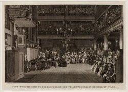Doop-plegtigheid by de Doopsgezinden te Amsterdam, in de kerk by 't Lam